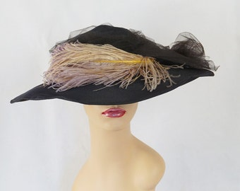 Vintage Picture Hat Black Straw Wide Brim with Netting and Ostrich Feathers by Gage Bros Sz 21
