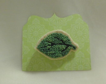 Handmade Embroidered French Knots Green Leaf Tree Pin Embroidery