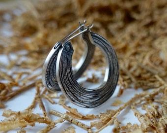 Sterling silver layered lines hoop earrings