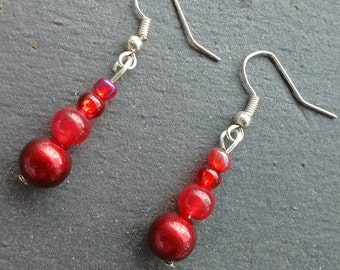 Long Red Earrings, Red Dangle Earrings, Red Bead Earrings, Simple Earrings, Scarlet Earrings, Gifts For Her, Boho Earrings, Drop Earrings,