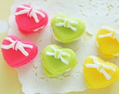6 pcs Polymer Clay  Macaroon Cabochon (20mmH15mm) Heart CD449