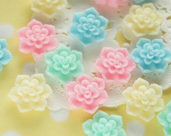 16 pcs Glitter Sugary Dahlia Cabochon (19mm21mm) 4 colors set FL435