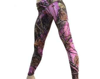Pink Camo Pants Yoga Fitness Legging Fold Over Low/High Rise SXYfitness Brand Item 1300 Sizes xxs-xxl (00-18 US) made in the USA