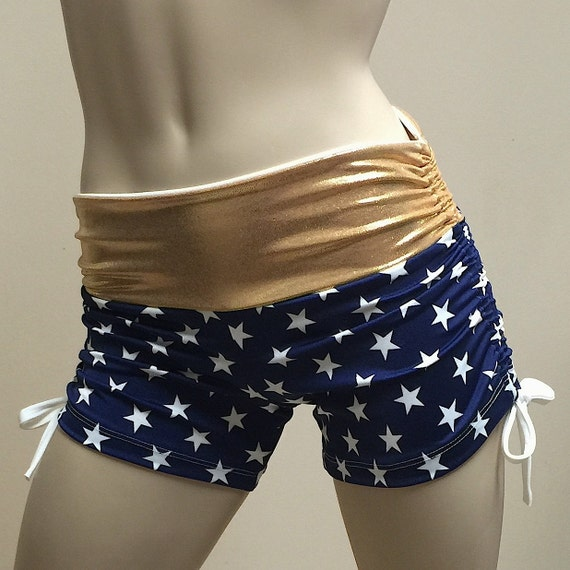 Super Hero Hot Yoga Shorts Navy Blue And Gold Stars Low Rise