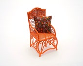 Miniature Garden Chair, Tangerine, with Cute Cushion with Summer Flowers, One Inch Scale, Dollhouse Miniature