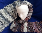 Knitted scarf shawl long mixed yarn white grey purple brown