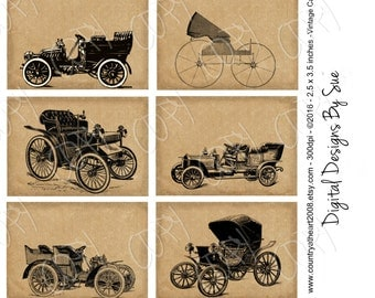Instant Download - Vintage Cars - 2.5 x 3.5 inches - ACEO -   Printable Digital Collage Sheet - Digital Download - Printable Ephemera
