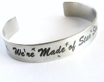 SALE Carl Sagan Quote Cuff Bracelet Silver Cuff Bracelet, Inspirational Jewelry, Science Jewlery, Physics Jewelry, Cosmos, Last Minute Gifts