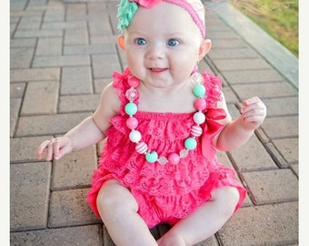SALE Baby Lace Romper Headband SET, Hot Pink and Mint Petti Romper And Baby Headband, Baby Outfit, Baby Photo Prop