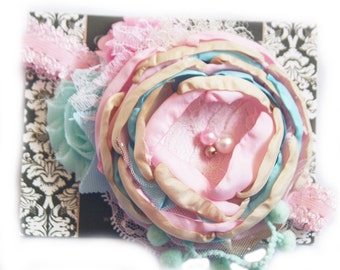 Baby Couture Headband - Baby Pink Blue and Mint Headband - Birthday Girl  Headband -Photo Prop - Pink and Mint