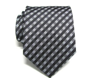 Mens Ties Necktie Black Gray Checkers Mens Tie