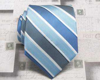 Mens Ties Royal Blue Gray Blue Dusty Pale Blue Stripes Necktie With Matching Pocket Square Option. Wedding ties.