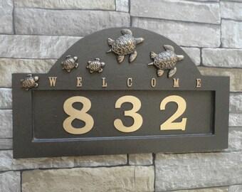 Sea Turtle Family Address Plaque Coastal House Sign