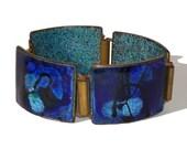 Vintage Enameled Copper Bracelet Modernist Abstract Blue & Turquoise Glazes