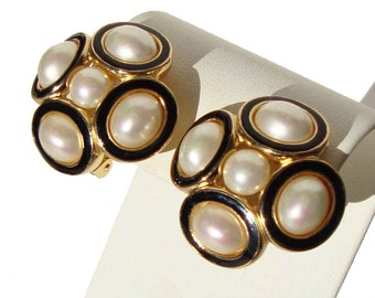 Vintage Christian Dior Earrings Faux Pearls & Black Enamel
