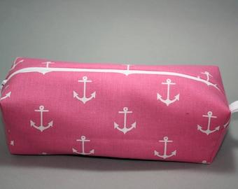 Boxy Makeup Bag - Nautical Pink Anchors Zipper - Pencil Pouch