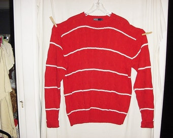 Vintage 90s Polo Red White Stripe Sweater Ralph Lauren Cotton Cable