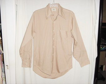 Vintage 70s Lt Brown Long Sleeve Shirt Mans L Sycamore Shop bch