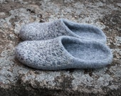 Slip on Slippers Natural wool slippers Womens felted wool slippers Gray house slippers animal print