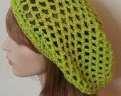Cotton Lime Open Stitch Dread Tam Hat