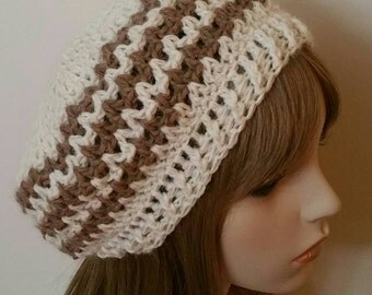 Alpaca Slouchy Beret Dread Tam Winter Hat in Natural and Camel