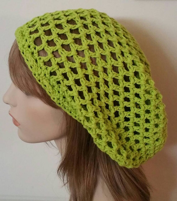 Cotton Lime Open Stitch Dread Tam Hat