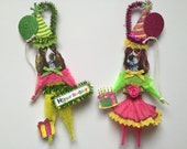 English Springer Spaniel BIRTHDAY ornaments DOG ornaments vintage style chenille ORNAMENTS set of 2