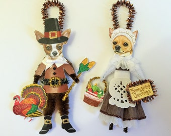 Chihuahua THANKSGIVING PILGRIM ornaments Dog ornaments vintage style chenille ORNAMENTS set of 2