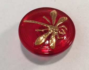 Red with Gold Luster DRAGONFLY Button