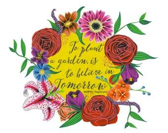To Plant A Garden Gouache Illustration Print