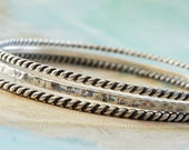Stacker Bracelets, Bracelet Set of STACKING BANGLES, Stacker Bangles, Sterling Silver Stacking Bracelets, Layered Jewelry Stacking Bracelets
