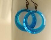 On SALE / CIJ Sale / Vivid Blue Hoops, Vintage Hoop Earrings, Retro, Geometric