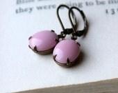 On SALE / CIJ Sale / Light Pink, Vintage Glass Jewel Earrings, Feminine, Dangle Earrings, Candy Pink