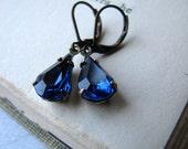 Sapphire Blue Rhinestone Earrings, Estate Style Earrings Old Hollywood Glam 1950s Deep Blue Vintage Jewel Earrings Drop Earrings