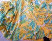 Trina Turk Designer Silk Yardage nearly 4 yards blue and yellow print