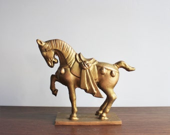 Vintage Gold Ming style horse, cast iron