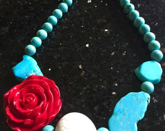 Day of the Dead Statement Turquoise Slab Sugar Skull Necklace-Where Every Design Tells A Story-