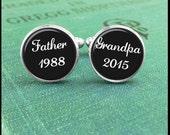 Custom Cufflinks, Father Cufflinks, Grandpa Cufflinks, Personalized Cufflinks, Birth Announcement, Custom Date Cufflinks, Grandpa Gift