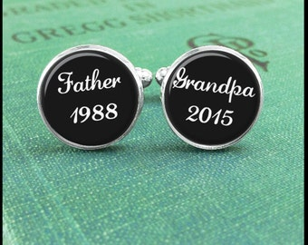 Custom Cufflinks, Father Cufflinks, Grandpa Cufflinks, Personalized Cufflinks, Birth Announcement, Custom Date Cufflinks, Grandpa Gift