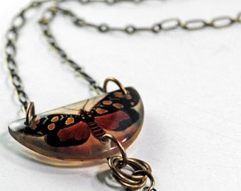 amber  butterfly necklace, resin necklace, vintage butterfly necklace, gifts under 25