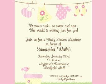 baby girl baby shower clothesline invitation printable invitation