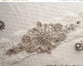 25% OFF Rhinestone applique, crystal applique, wedding applique, beaded patch for DIY bridal sash, bridal headpiece