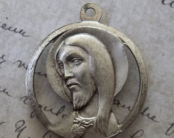 CLEARANCE Mid Century Modern Vintage Catholic Holy Medal, Sacred Heart Of Jesus Christ With The Immaculate Heart Of The Blessed Virgin Mary,