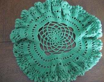 VINTAGE Ruffle Edge Green Round Crochet Needlework Doily 15D