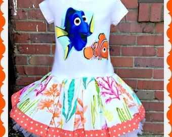 girls Finding Dory dress Dory 2T 3T 4T 4/5 6/6X 7/8 10/12 and 14/16 ready to ship