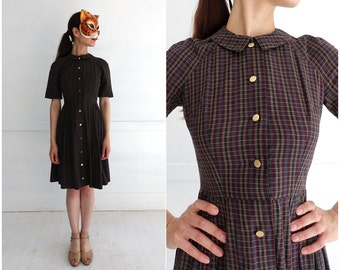 Vintage 1950's Plaid Shirt-Waist Day Dress with Peter Pan Collar | XS