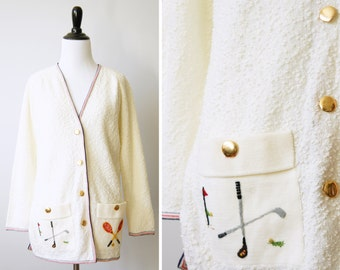 Vintage 70's White Textured Cardigan w/ Red & Blue Striped Trim, Gold Buttons and Golf/Tennis Embroidered Pockets by I.Magnin | Medium Large
