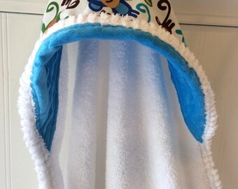 Kids-Towel-Personalized-Bath-Hooded-Towels-Boy-Boys-Monkey-Blue-Minky-Dot-Beach-Terry-Swim-Suit-Cover-Up-Newborn-essentials-Shower-Gifts