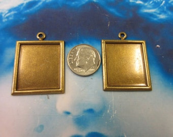 Brass Ox Bezel Photo Frame Charms 187BOX x2