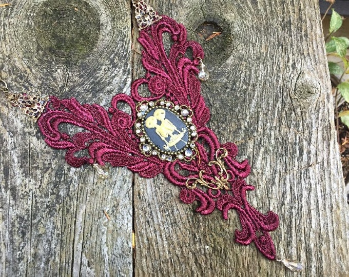 Featured listing image: Dark Red Lace Bib Necklace Steampunk Fantasy Goth Victorian Cosplay Cameo Siamese Twins Brass Filigree
